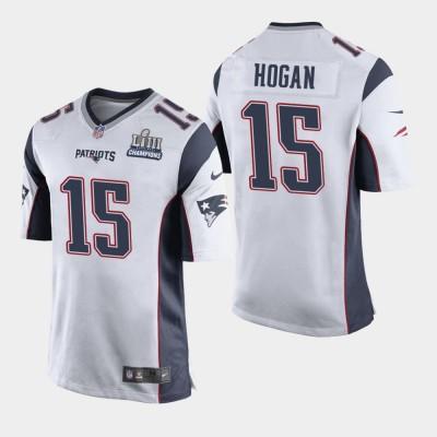 Nike Patriots 15 Chris Hogan White 2019 Super Bowl LIII Champions Elite Men Jersey