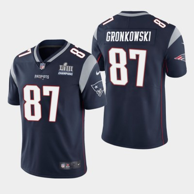 Nike Patriots 87 Rob Gronkowski Navy 2019 Super Bowl LIII Champions Vapor Untouchable Limited Men Jersey