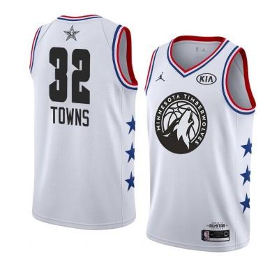 NBA Timberwolves 32 Karl-Anthony Towns 2019 All-Star White Swingman Men Jersey