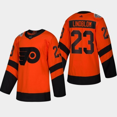NHL Flyers 23 Oskar Lindblom 2019 Stadium Series Orange Adidas Men Jersey