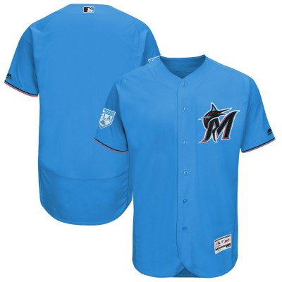 MLB Marlins Blank Blue 2019 Spring Training Flex Base Men Jersey