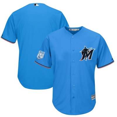 MLB Marlins Blank Blue 2019 Spring Training Cool Base Men Jersey