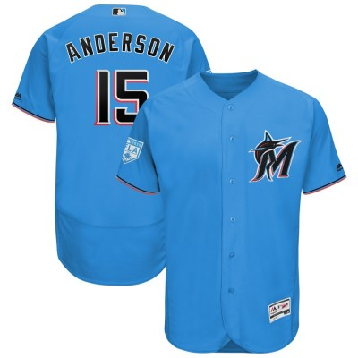 MLB Marlins 15 Brian Anderson Blue 2019 Spring Training Flex Base Men Jersey