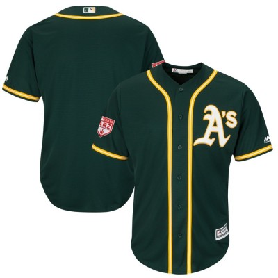 MLB Athletics Blank Green 2019 Spring Training Cool Base Men Jersey