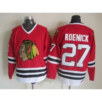 NHL Blackhawks 27 Jeremy Roenick Red Throwback CCM Men Jersey