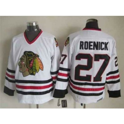 NHL Blackhawks 27 Jeremy Roenick White Throwback CCM Men Jersey
