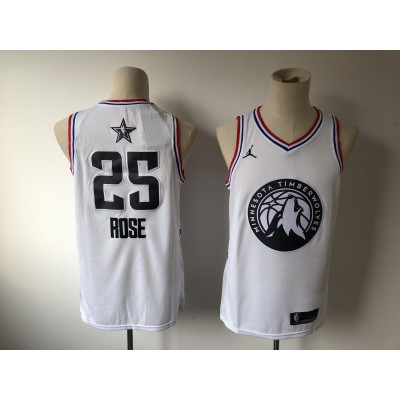NBA Timberwolves 25 Derrick Rose 2019 All-Star White Swingman Men Jersey