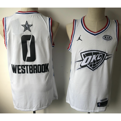 NBA Thunder 0 Russell Westbrook White 2019 All-Star Game Men Jersey
