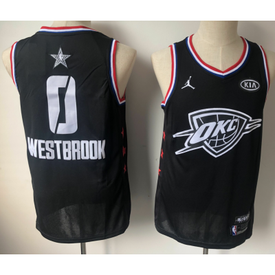 NBA Thunder 0 Russell Westbrook Black 2019 All-Star Game Men Jersey