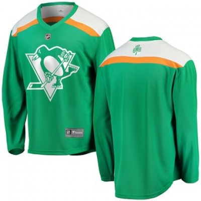 NHL Penguins Green 2019 St. Patrick's Day Adidas Men Jersey