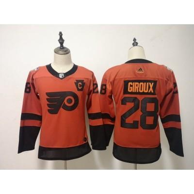 NHL Flyers 28 Claude Giroux 2019 Stadium Series Orange Adidas Women Jersey