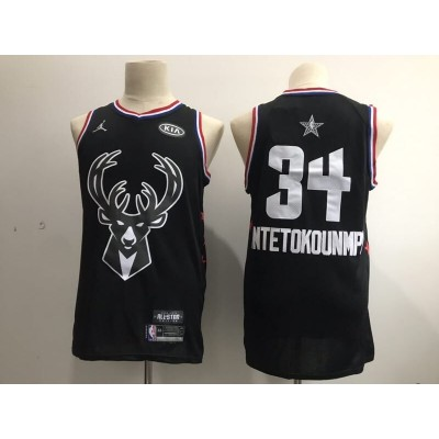 NBA Bucks 34 Giannis Antetokounmpo 2019 All-Star Black Swingman Men Jersey