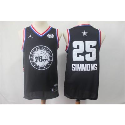 NBA 76ers 25 Ben Simmons Black 2019 All-Star Game Men Jersey