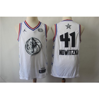 NBA Mavericks 41 Dirk Nowitzki White 2019 NBA All-Star Game Jordan Brand Men Jersey