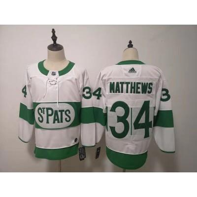 NHL Leafs 34 Auston Matthews White 2019 St. Patrick's Day Adidas Men Jersey