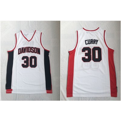 NCAA Davidson Wildcat 30 Stephen Curry White Stitched College Basketball Men Jersey