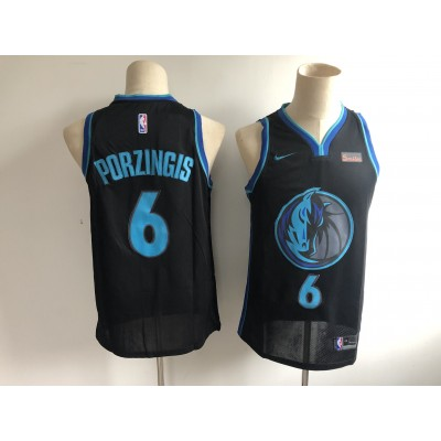 NBA Mavericks 6 Kristaps Porzingis Anthracite 2018-19 City Edition Nike Men Jersey