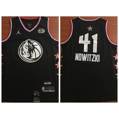 NBA Mavericks 41 Dirk Nowitzki 2019 All-Star Black Swingman Men Jersey