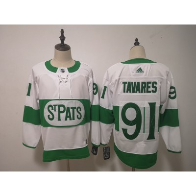 NHL Leafs 91 John Tavares White 2019 St. Patrick's Day Adidas Men Jersey