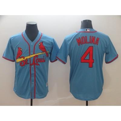 MLB Cardinals 4 Yadier Molina Light Blue Cool Base Men Jersey