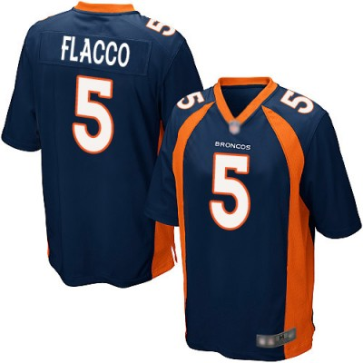 Nike Denver Broncos 5 Joe Flacco Navy Elite Men Jersey