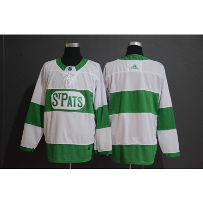 NHL Maple Leafs Blank White 2019 St. Patrick's Day Adidas Men Jersey