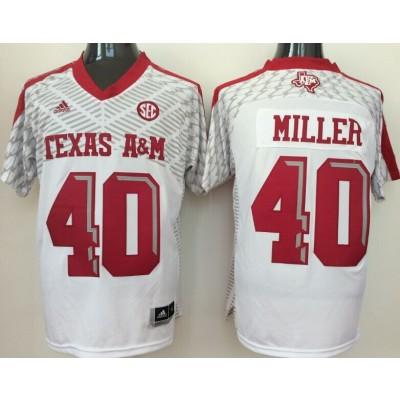 NCAA Texas A&M Aggies 40 Von Miller White College Football Adidas Men Jersey