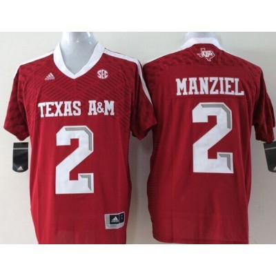 NCAA Texas A&M Aggies 2 Johnny Manziel Red College Football Adidas Men Jersey