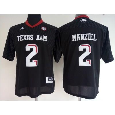 NCAA Texas A&M Aggies 2 Johnny Manziel Black College Football Adidas Men Jersey