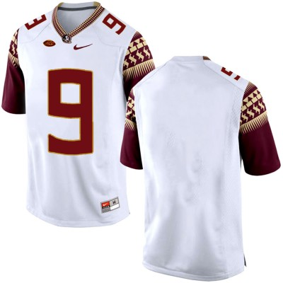 NCAA Florida State Seminoles 9 White College Football Men Jersey