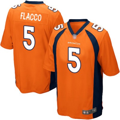 Nike Denver Broncos 5 Joe Flacco Orange Elite Men Jersey