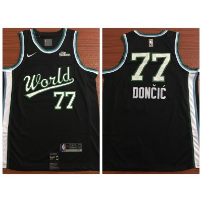 NBA Mavericks 77 Luka Doncic Black 2019 Rising Star Team USA Men Jersey