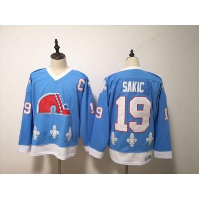NHL Nordiques 19 Joe Sakic Light Blue Men Jersey