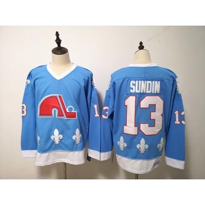 NHL Nordiques 13 Mats Sundin Light Blue Men Jersey