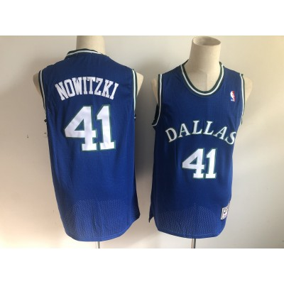 NBA Mavericks 41 Dirk Nowitzki Blue Throwback Men Jersey