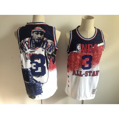 NBA 76ers 3 Allen Iverson White All-Star 1991 Hardwood Classics Men Jersey