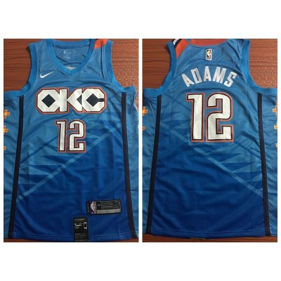 NBA Thunder 12 Steven Adams Turquoise 2018-19 City Edition Nike Swingman Men Jersey