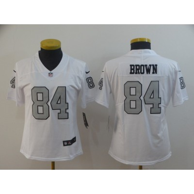 Nike Raiders 84 Antonio Brown White Color Rush Limited Women Jersey