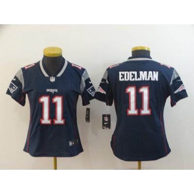 Nike Patriots 11 Julian Edelman Navy Vapor Untouchable Limited Women Jersey