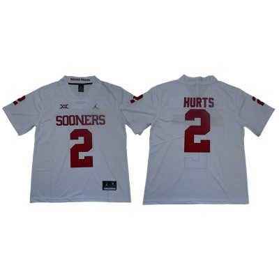 NCAA Oklahoma Sooners 2 Jalen Hurts White College Football Men Jersey