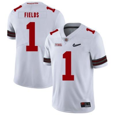 NCAA Ohio State Buckeyes 1 Justin Fields White Nike College Football Men Jersey