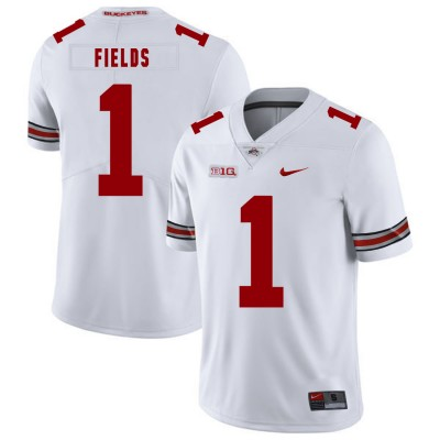 NCAA Ohio State Buckeyes 1 Justin Fields White Nike College Football Limited Men Jersey