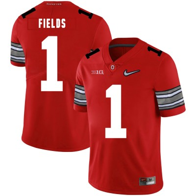 NCAA Ohio State Buckeyes 1 Justin Fields Red Nike College Football Men Jersey