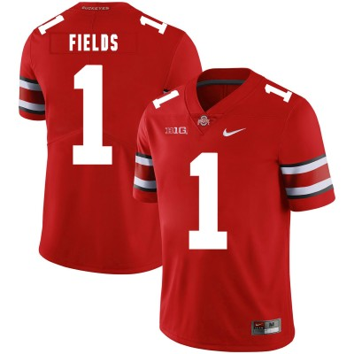 NCAA Ohio State Buckeyes 1 Justin Fields Red Nike College Football Limited Men Jersey