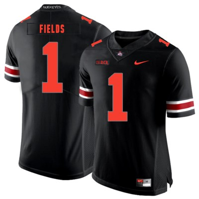 NCAA Ohio State Buckeyes 1 Justin Fields Black Shadow Legend Limited Nike College Football Men Jersey