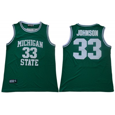 NCAA Michigan State Spartans 33 Magic Johnson Green College Basketball Men Jersey