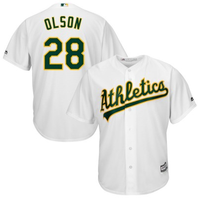 MLB Athletics 28 Matt Olson White Cool Base Men Jersey