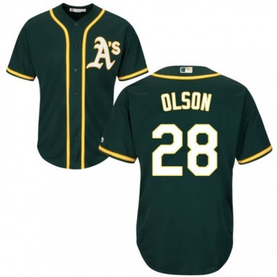 MLB Athletics 28 Matt Olson Green Cool Base Men Jersey