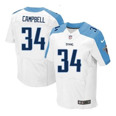 Nike Titans 34 Earl Campbell White Men's Elite Jersey