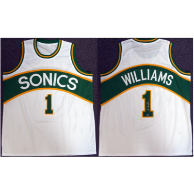 NBA Seattle Supersonics 1 Gus Williams White Men Jersey